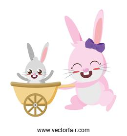 beautiful rabbits mother and son easter characters