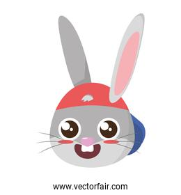 beautiful rabbit with cap easter head character