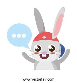 beautiful rabbit with speech bubble