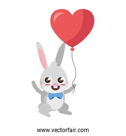 beautiful rabbit with heart balloon helium easter character
