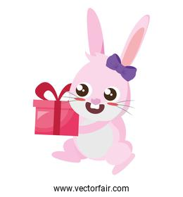 beautiful rabbit with gift easter character