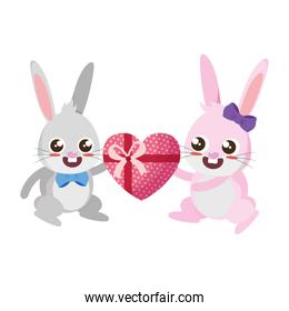 beautiful rabbits couple with heart gift easter characters