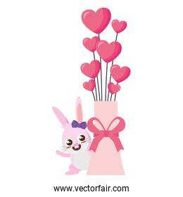beautiful rabbit with hearts balloons helium easter character
