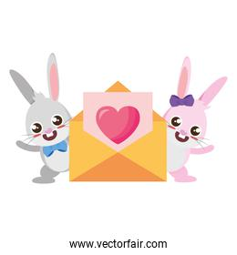 beautiful rabbits couple with heart envelope