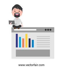 businessman with laptop and webpage template