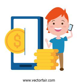 woman using smarphone with coins dollars