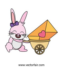 rabbit female with love envelope in wheelbarrow
