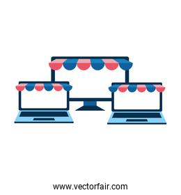 set devices with ecommerce tents
