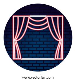 theater curtain with light of neon icon