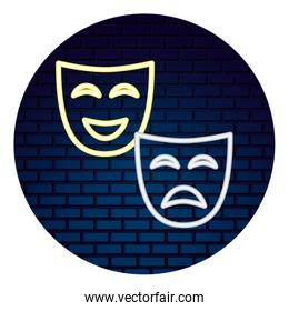 theater mask with light of neon icon
