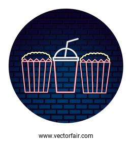 popcorn and soda with light of neon icon