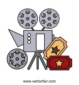 cinema projector and ticket isolated icon