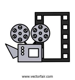 cinema projector and movie tape icon