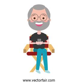 man sitting on chair avatar character