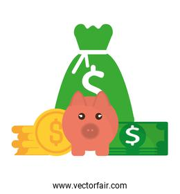 pig with coins isolated design