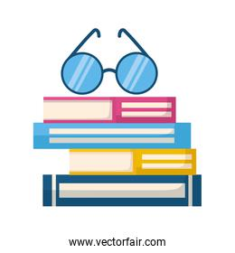 stack of books with lenses isolated icon