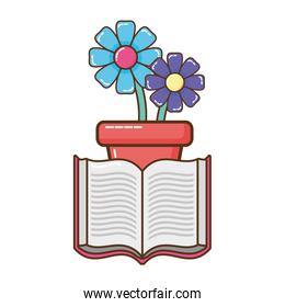 open book with flowerpot icon isolated