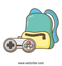 travel backpack and videogames control icon