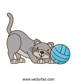 cat with ball of yarn isolated icon