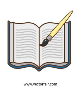 open book with brush isolated icon