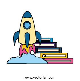 stack of books with rocket isolated icon