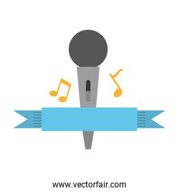 microphone with musical notes isolated icon