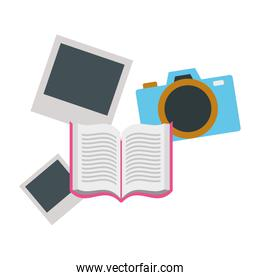 open book with camera isolated icon