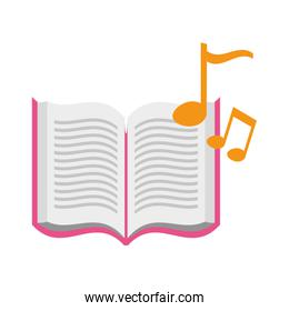 open book with musical notes icon over white