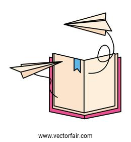 open book with paper plane icon