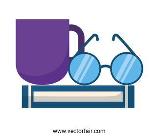 book eyeglasses and coffee cup