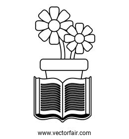 potted flowers and book