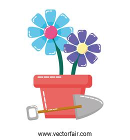 potted flowers shovel