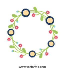 wreath with flowers and leaves