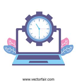laptop computer clock over white