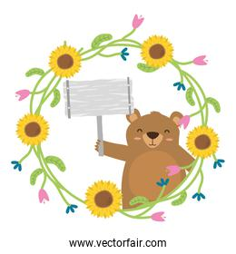 bear with placard and flowers