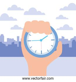hand with clock time