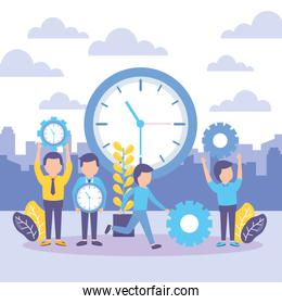 business people with clock