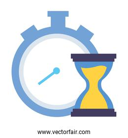 stopwatch and hourglass time