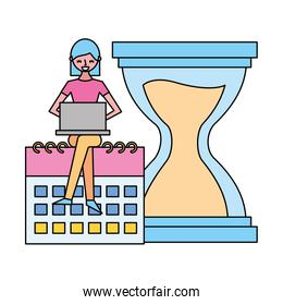 woman working laptop calendar clock