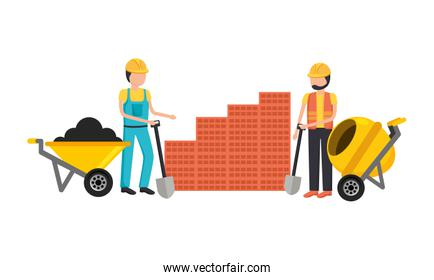 construction workers with toolkit