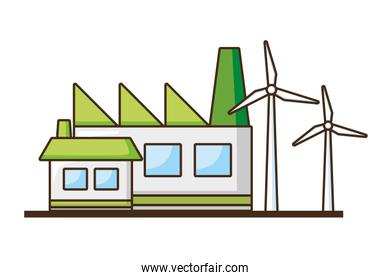 factory building house wind turbines