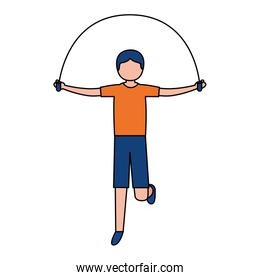sporty man jumping rope