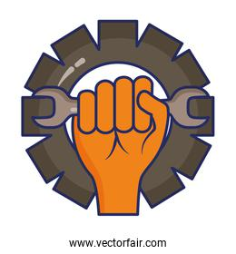 hand holding wrench gear