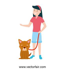 girl with his dog over white