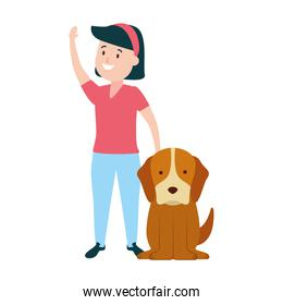 girl with his dog