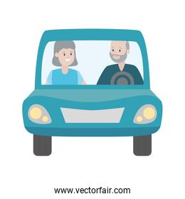 old couple in the car