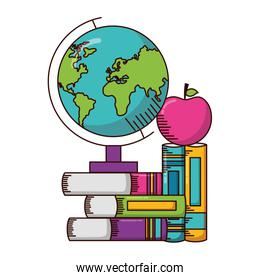 globe planet with books and apple