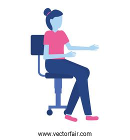woman sitting on office chair