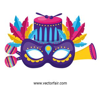 carnival mask drum feathers