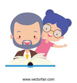 father and daughter with book